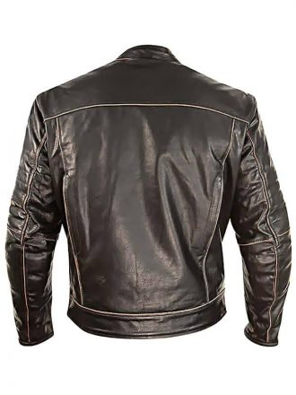Mens Vintage Style Cowhide Leather Biker Jacket Dark Brown Back