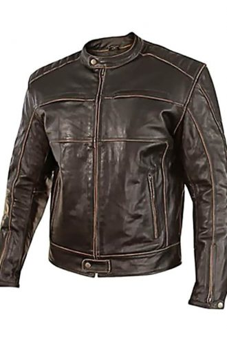 Mens Vintage Style Cowhide Leather Biker Jacket Dark Brown Front