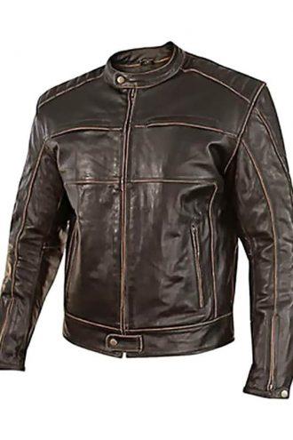 Mens Vintage Style Cowhide Leather Biker Jacket Dark Brown Front