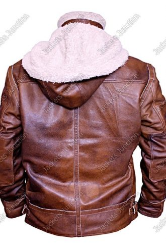Mens WW2 B3 Shearling Fur Real Leather Aviator Jacket Brown BACK