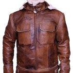 Mens WW2 B3 Shearling Fur Real Leather Aviator Jacket Brown1