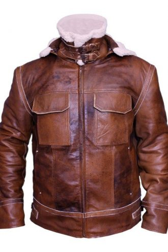 Mens WW2 B3 Shearling Fur Real Leather Aviator Jacket Brown1