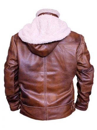 Mens WW2 B3 Shearling Fur Real Leather Aviator Jacket Brown2