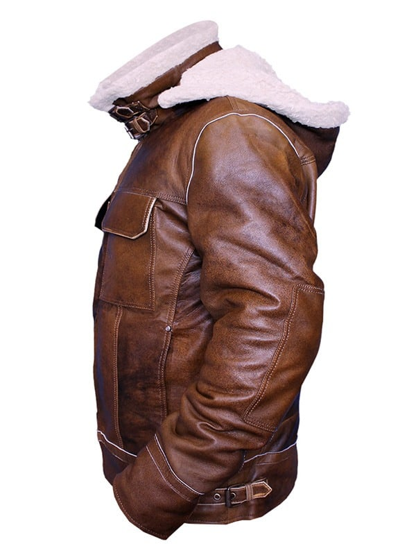 Mens WW2 B3 Shearling Fur Real Leather Aviator Jacket Brown2
