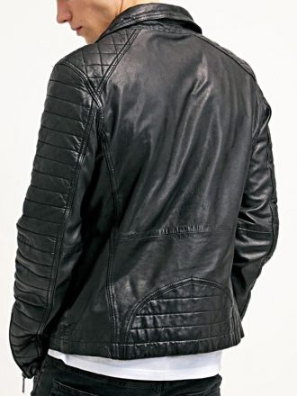 Mens Waxed Sheepskin Leather Biker Jacket Black BACK