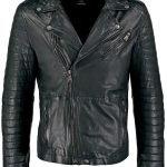 Mens Waxed Sheepskin Leather Biker Jacket Black FRONT 1