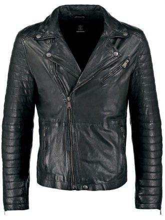 Mens Waxed Sheepskin Leather Biker Jacket Black FRONT 1