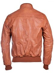Mens Waxed Sheepskin Leather Bomber Jacket Brown BACK