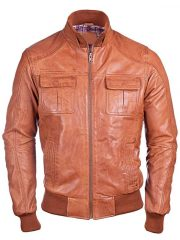 Mens Waxed Sheepskin Leather Bomber Jacket Brown FRONT