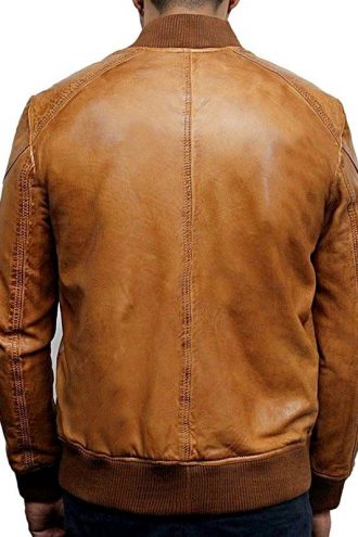 Mens Waxed Sheepskin Leather Bomber Jacket Tan Brown Back