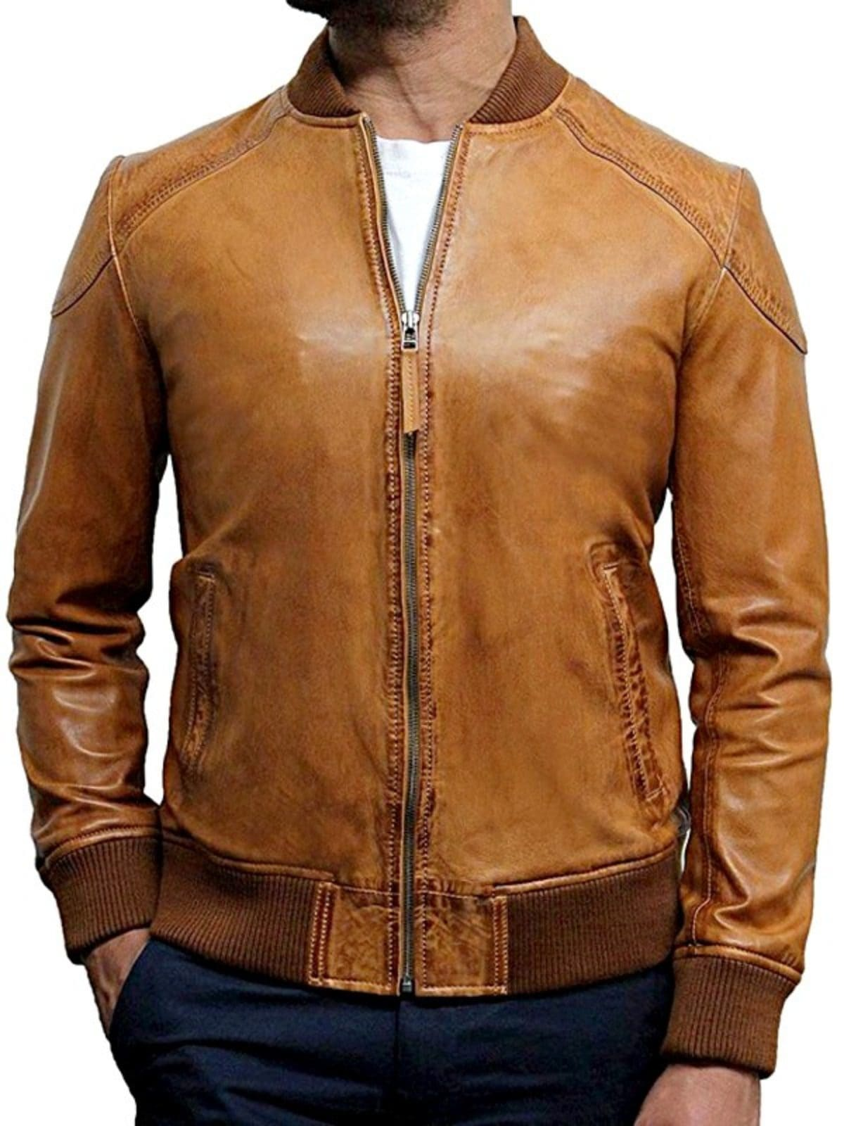 Mens Waxed Sheepskin Leather Bomber Jacket Tan Brown Front