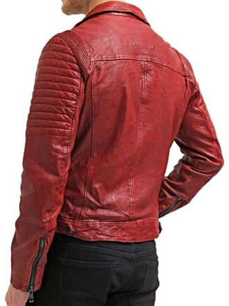 Mens Waxed Sheepskin Fashion Leather Biker Jacket Red Back