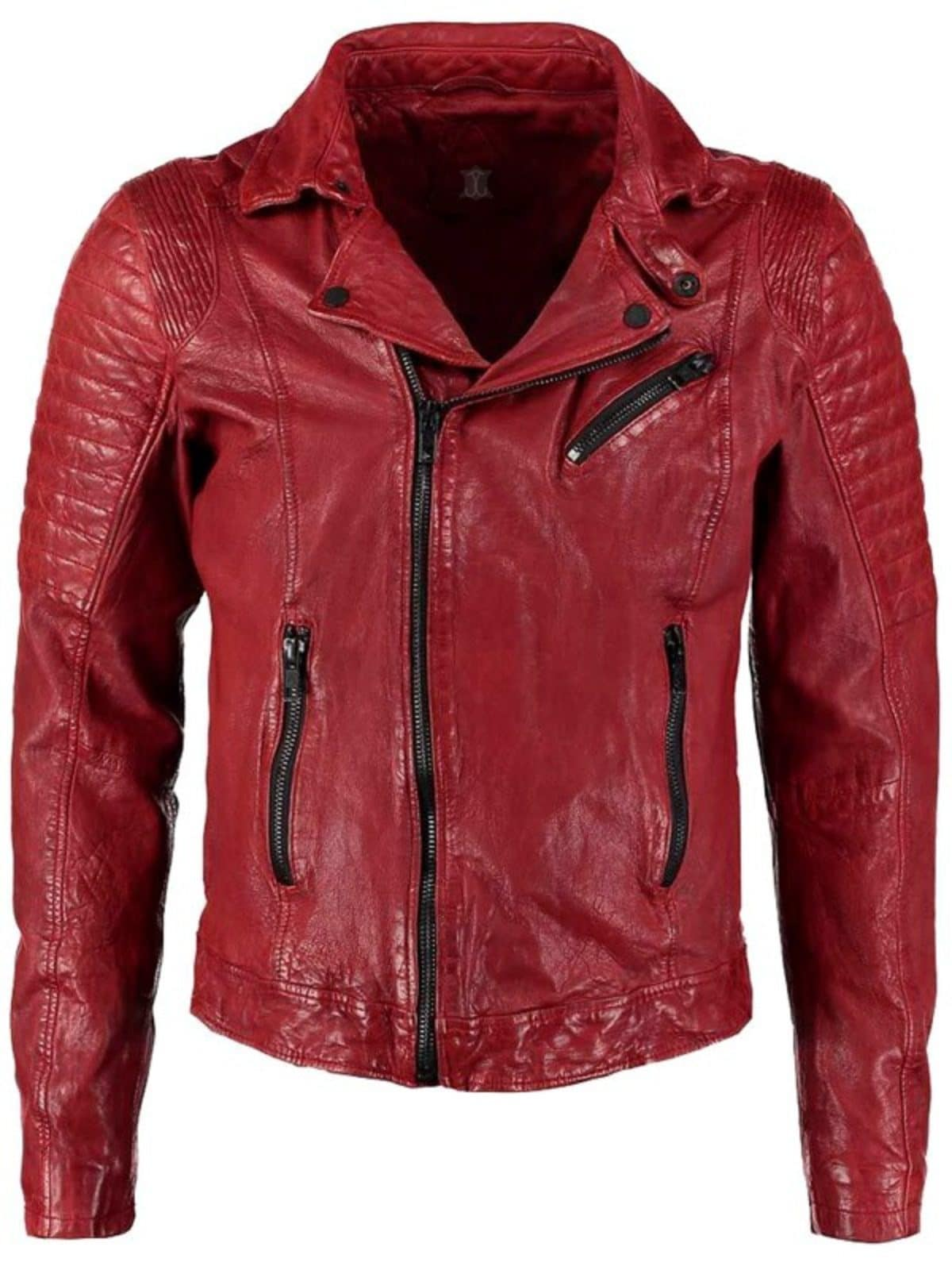 Women/'s Short Collar Waxed 100/% Sheepskin Leather Jacket Red