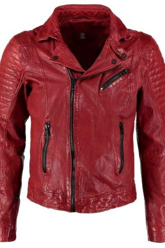 Mens Waxed Sheepskin Fashion Leather Biker Jacket Red Front