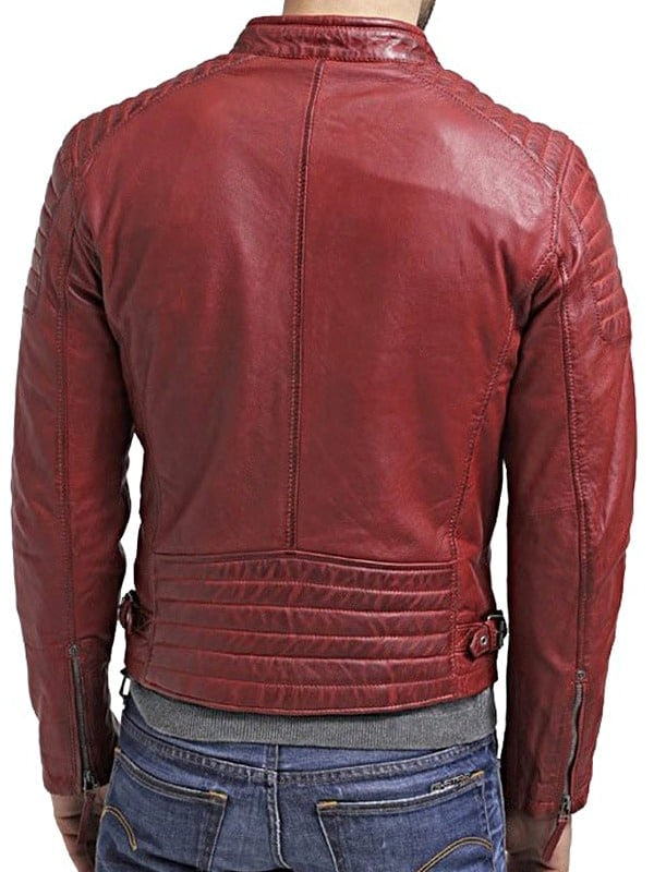 Mens Waxed Sheepskin Quilted Leather Jacket Maroon Red Back