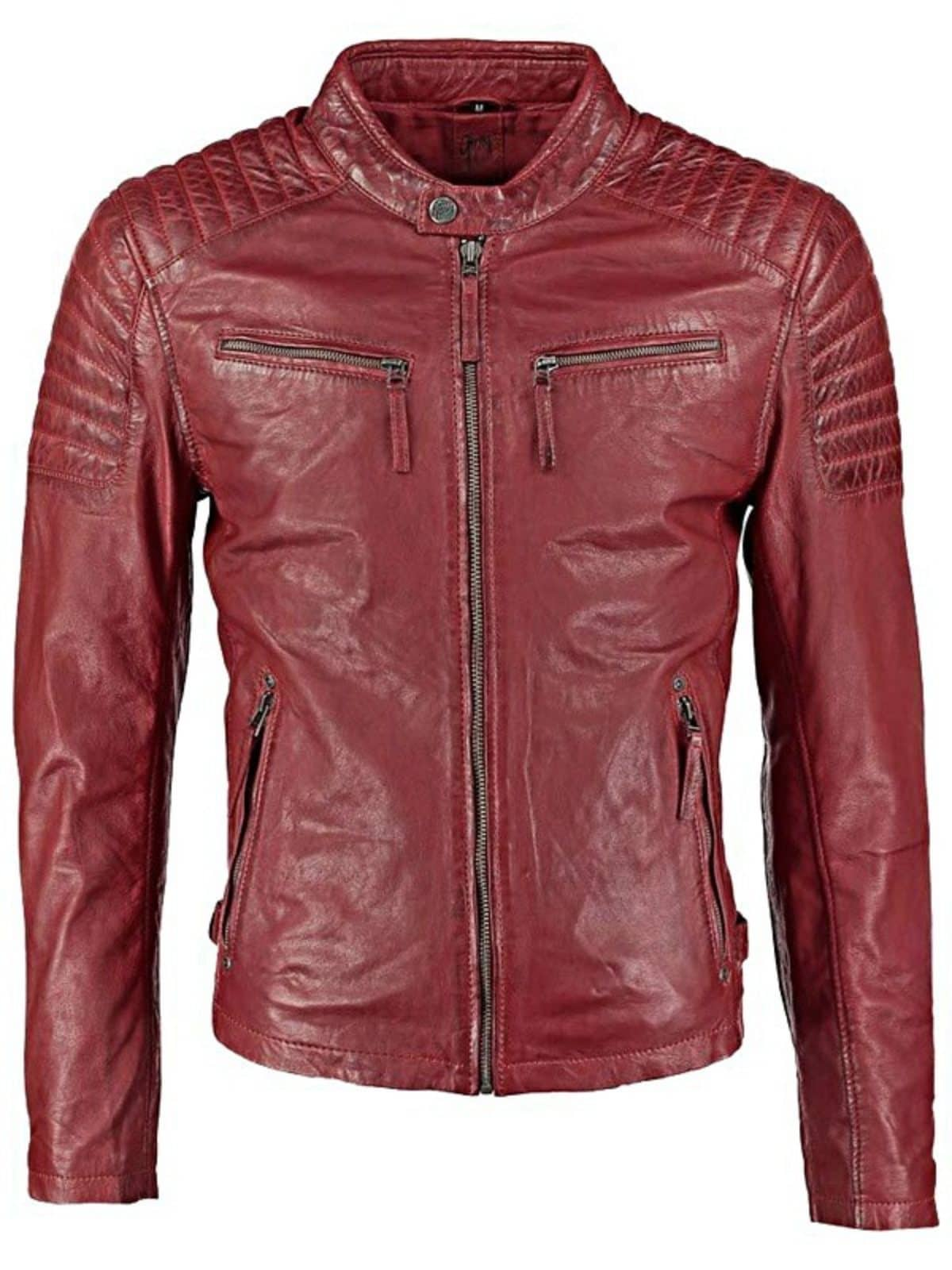 Mens Waxed Sheepskin Quilted Leather Jacket Maroon Red Front