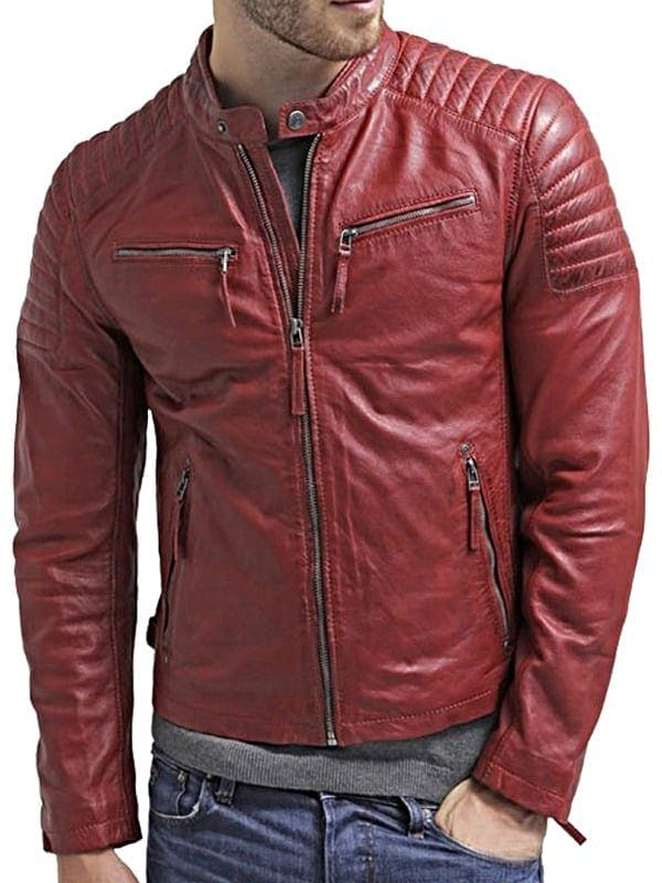 Mens Waxed Sheepskin Quilted Leather Jacket Maroon Red Front 2