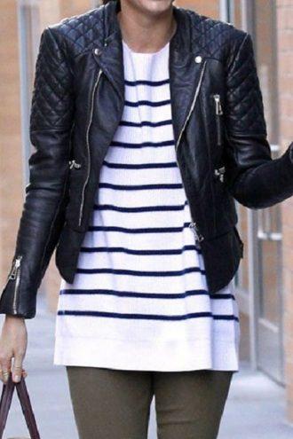 Miranda Kerr Balenciaga Leather Jacket Black 01