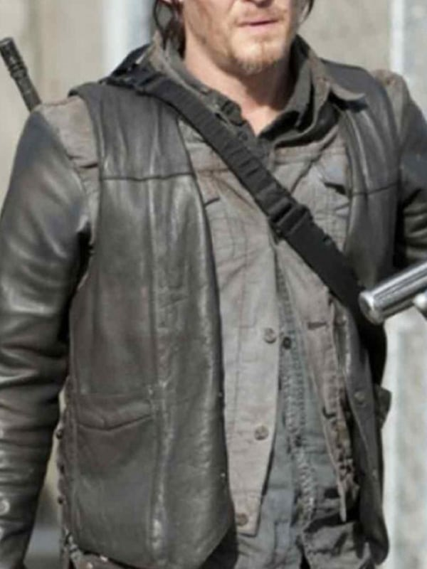 Norman Reedus The Walking Dead Leather Vest Black 01