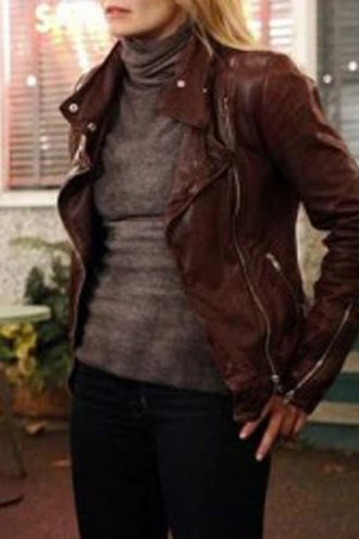 Once Upon A Time Season 4 Emma Swan Leather Jacket Red 01