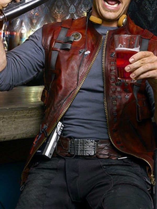 Peter Quill Guardians Of The Galaxy Chris Pratt Leather Vest 01