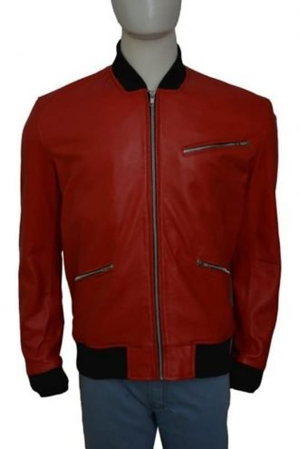 Star Wars The Force Awakens John Boyega Leather Bomber Jacket Red