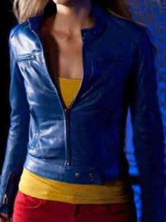 Supergirl Smallville Laura Vandervoort Leather Jacket Blue 02