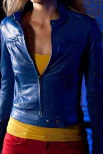 Supergirl Smallville Laura Vandervoort Leather Jacket Blue 02