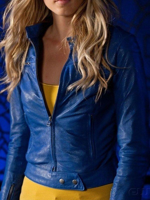 Supergirl Smallville Laura Vandervoort Leather Jacket Blue 03