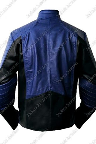 Mens Superman Man Of Steel Leather Jacket Blue and Black Back