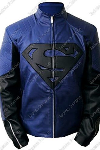 Mens Superman Man Of Steel Leather Jacket Blue and Black Front