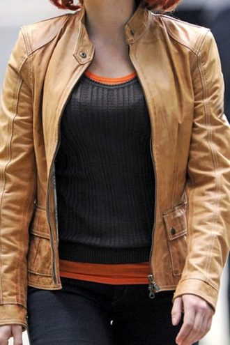 The Avengers Scarlett Johansson Leather Jacket 01