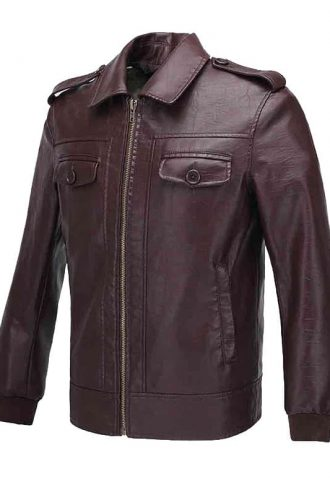 The Avengers Steve Rogers Leather Biker Jacket Brown 01