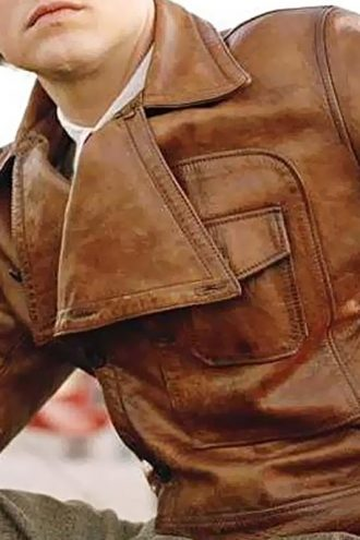 The Aviator Movie Leonardo DiCaprio Leather Jacket Brown 01