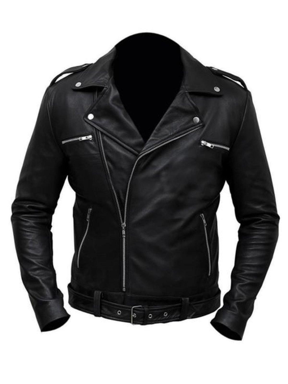 The Walking Dead TV Series Negan Leather Biker Jacket Black