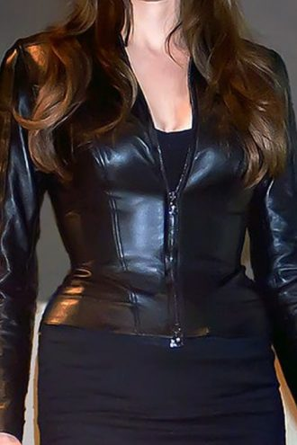 Wanted Movie Angelina Jolie Leather Jacket Black 01