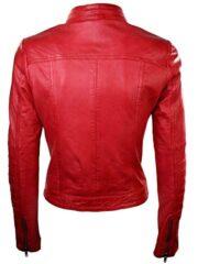Womens Sheepskin Leather Biker Jacket Red Tan Stand Collar Back
