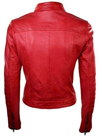 Womens Sheepskin Leather Biker Jacket Red Tan Stand Collar Back