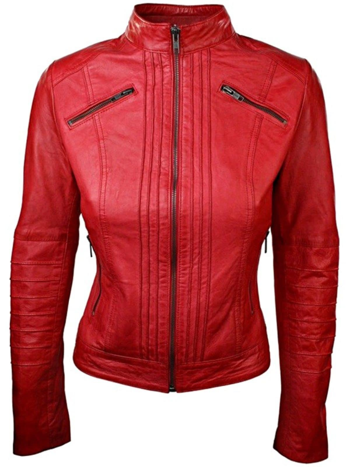 Womens Sheepskin Leather Biker Jacket Red Tan Stand Collar Front