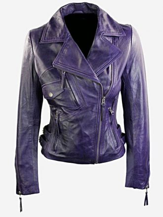 Womens Short Fitted Leather Motorcycle Jacket Purple