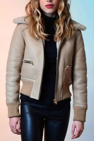 American Actress Halston Sage Sheepskin Shearling Jacket