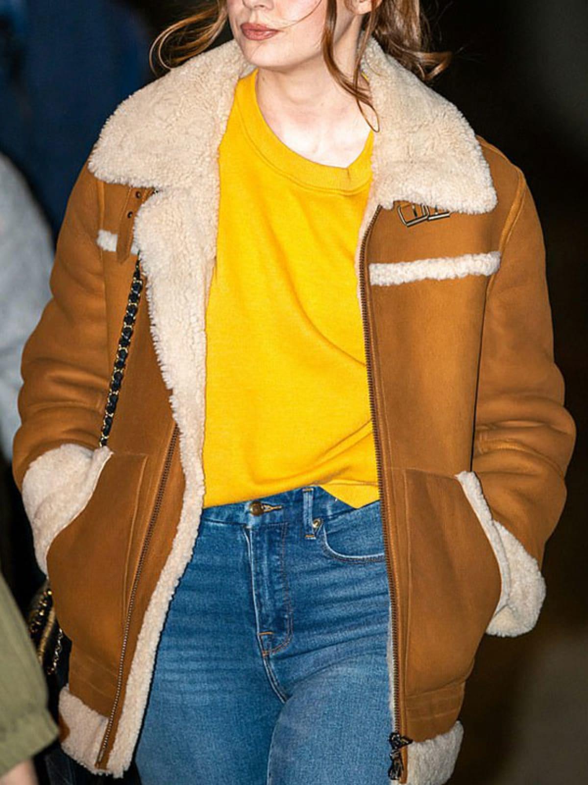 Elegant Karen Gillan Sheepskin Shearling Leather Jacket Coat