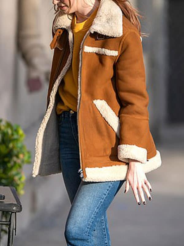 Elegant Karen Gillan Sheepskin Shearling Leather Jacket Coat 4