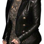 Kim Kardashian Black Leather Blazer Jacket Double Breasted