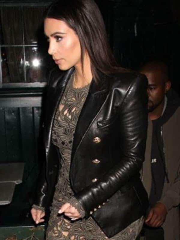 Kim Kardashian Double Breasted Paris Blazer Black 3