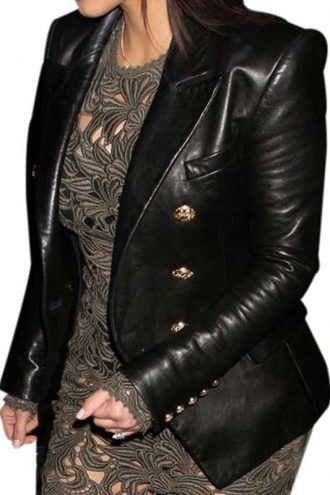 Kim Kardashian Black Leather Blazer Jacket Double Breasted