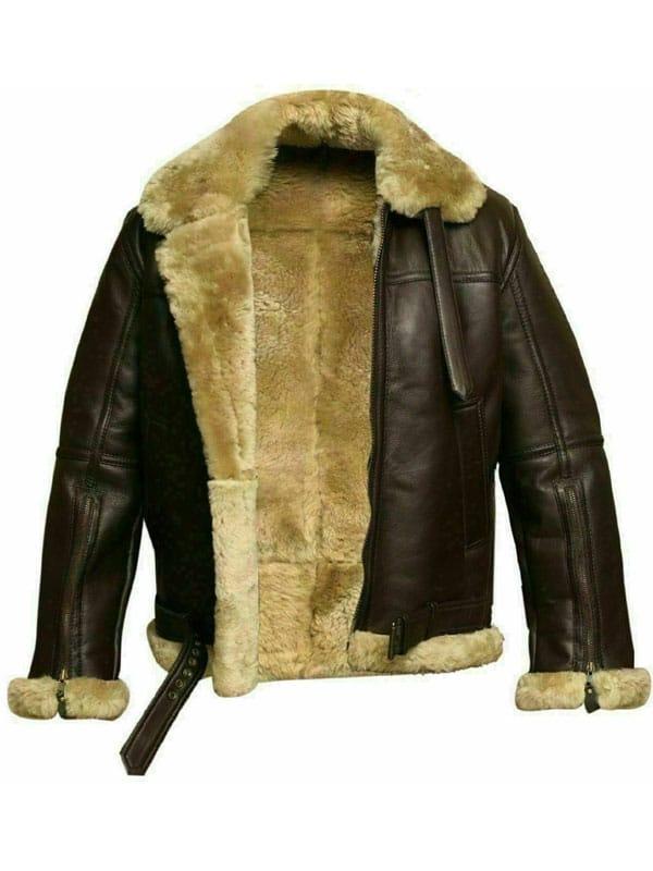 RAF Bomber Ginger Sheepskin Leather Aviator Jacket