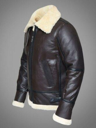 Mens Pilot Aviator RAF B3 Bomber Leather Jacket Dark Brown 1