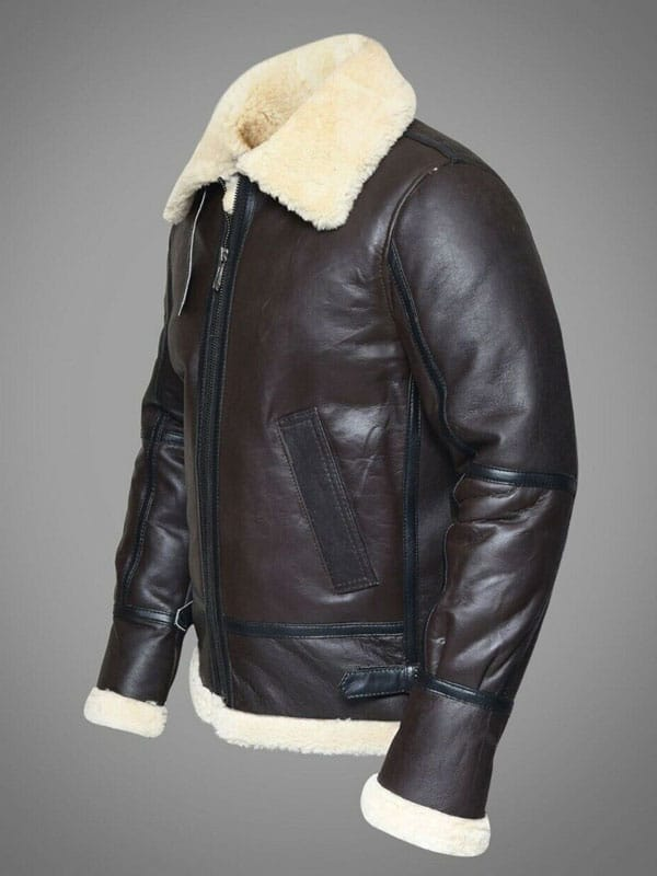 Men/'s Winter Raf B3 Real Sheepskin Shearling Fur Leather Flying Brown Jacket