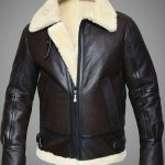 Mens RAF Sheepskin Leather Flying Jacket Dark Brown